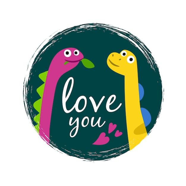 Ti amo grunge con due simpatici dinosauri Vettore Premium