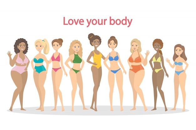 Amo il tuo corpo. set di belle donne in bikini. Vettore Premium
