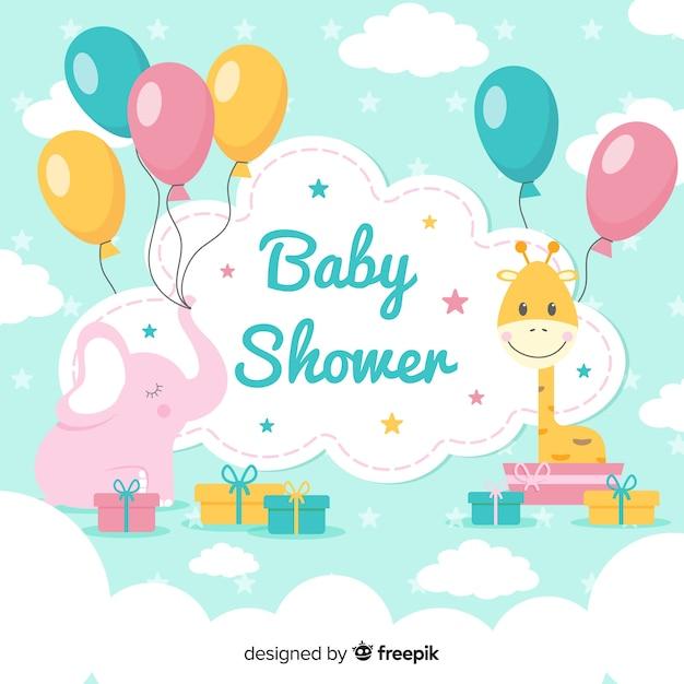 Bella composizione baby shower con design piatto Vettore Premium