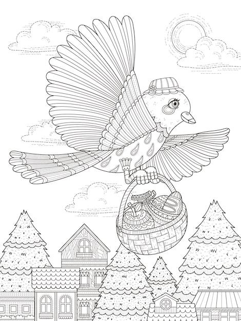 Adorabile uccello porta la pagina da colorare per adulti di cibo Vettore Premium