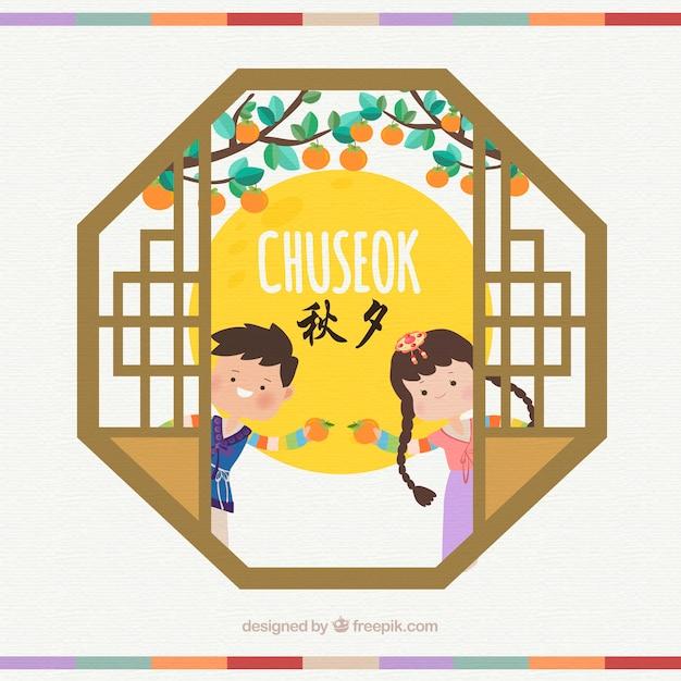 Bella composizione chuseok con design piatto Vettore Premium
