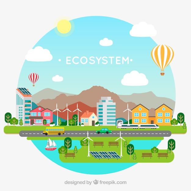 Concetto di ecosistema adorabile con design piatto Vettore Premium