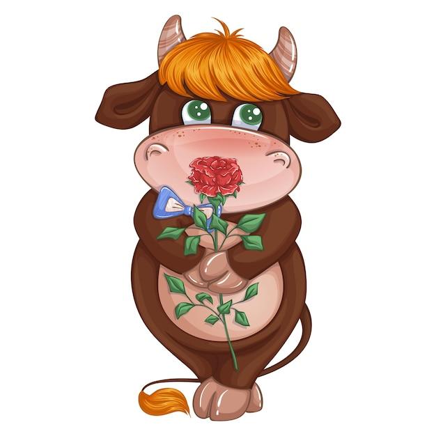 Ragazzo adorabile del ghiozzo imbarazzato che tiene una rosa rossa. Vettore Premium