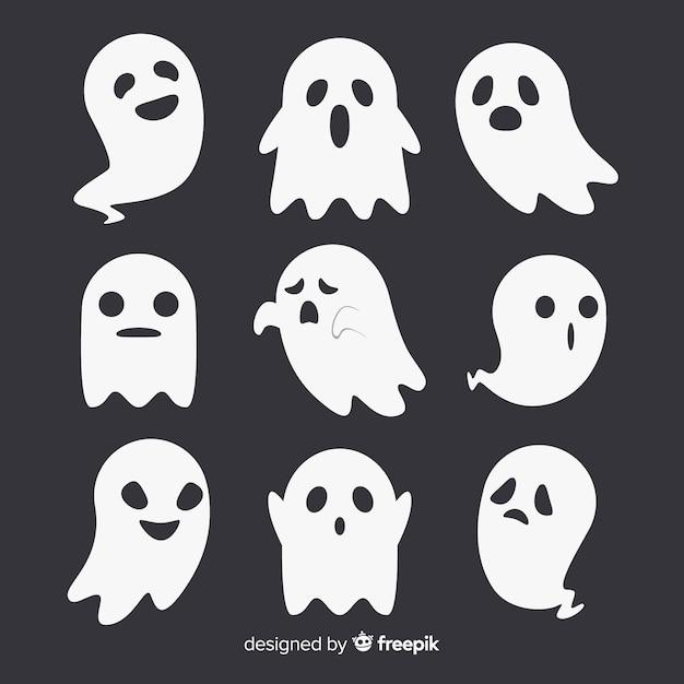 Bella collezione fantasma di halloween con design piatto Vettore Premium