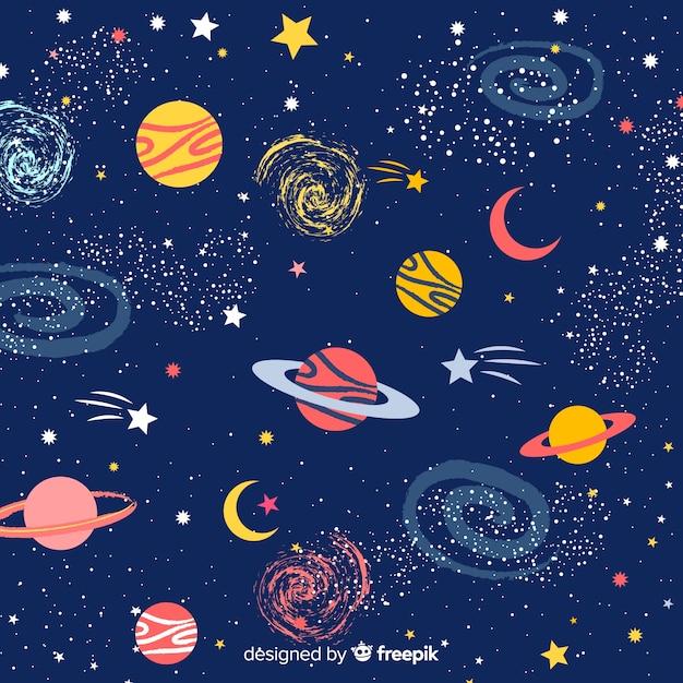 Sfondo di galassia disegnato a mano bella Vettore Premium