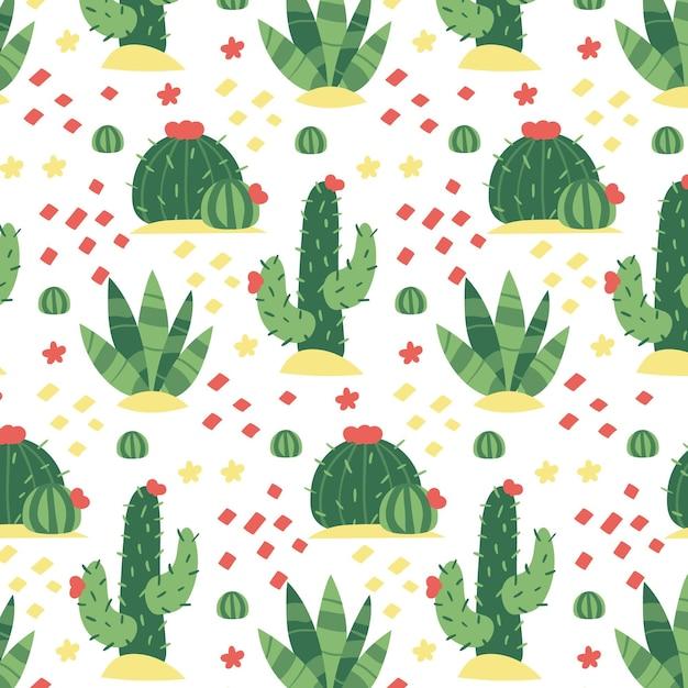 Bel modello con cactus ripetitivi Vettore Premium