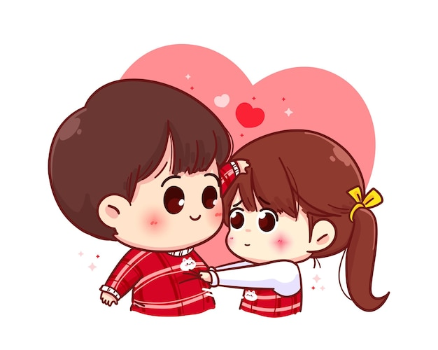 Coppia di innamorati, buon san valentino, illustrazione del personaggio dei cartoni animati Vettore Premium