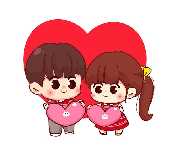 Coppia di amanti che tengono insieme il cuore, buon san valentino, illustrazione del personaggio dei cartoni animati Vettore Premium