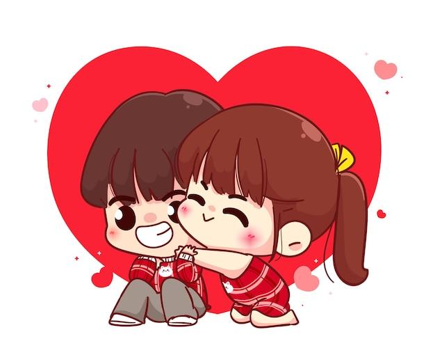 Coppia di amanti che abbraccia, buon san valentino, illustrazione del personaggio dei cartoni animati Vettore Premium