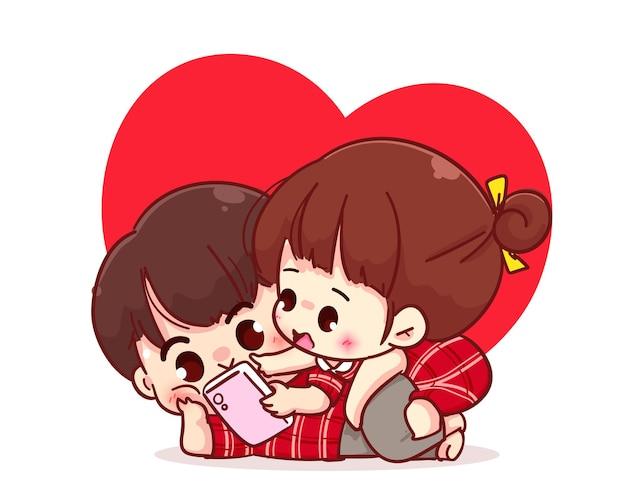 Coppia di amanti guardando insieme lo smartphone, illustrazione del personaggio dei cartoni animati Vettore Premium