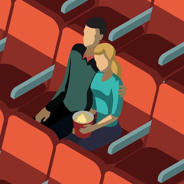 Coppia di innamorati in cinema isometrico Vettore Premium