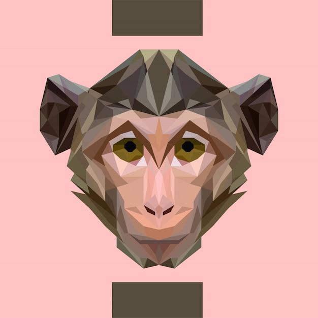 Vettore di testa di scimmia poligonale basso Vettore Premium