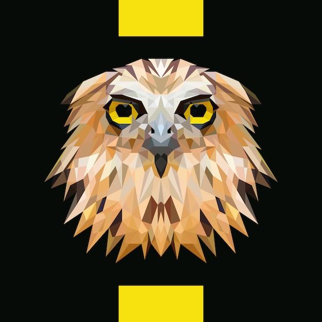 Low polygonal owl head vector Vettore Premium
