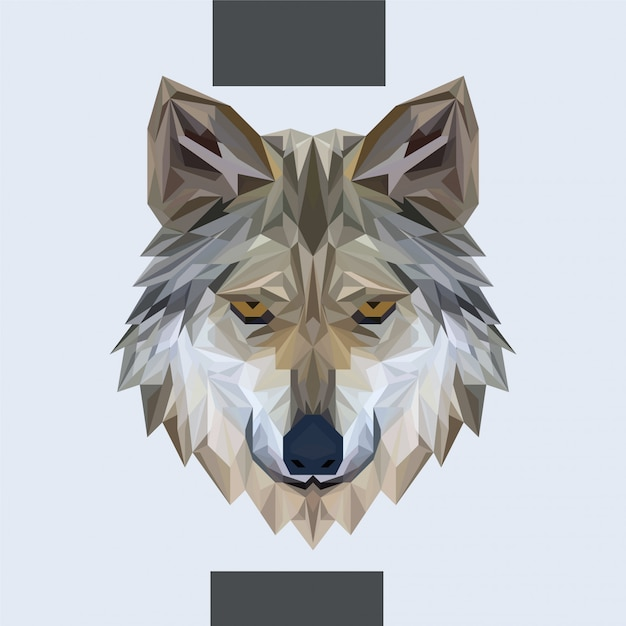 Low polygonal wolf head vector Vettore Premium
