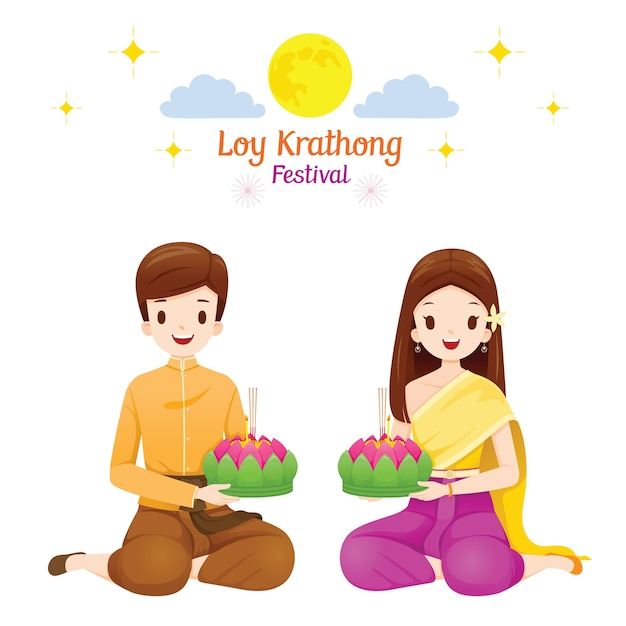 Loy krathong festival, coppia in abiti tradizionali tailandesi, costume nazionale, celebrazione e cultura della thailandia Vettore Premium