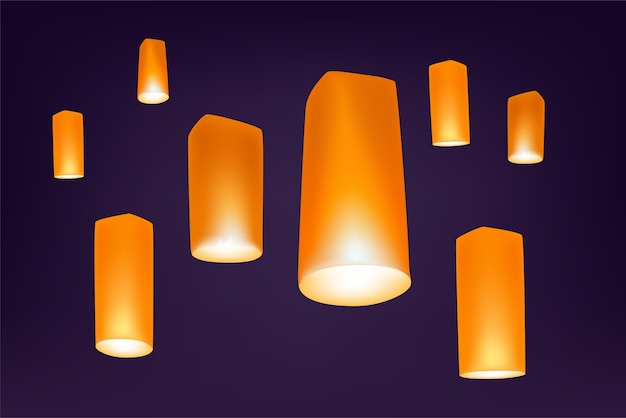 Loy krathong festival lanters nella notte Vettore Premium