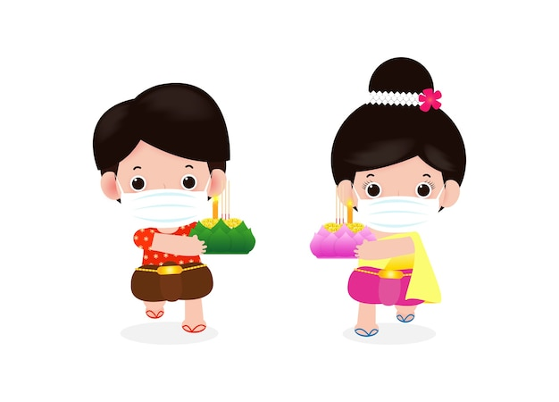 Loy krathong festival per il nuovo normale coronavirus o covid 19 con una simpatica coppia thailandese in costume tradizionale, indossa la maschera per il viso e tiene la celebrazione del krathong e la cultura della thailandia sfondo vettoriale Vettore Premium