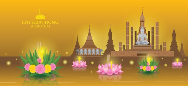 Loy krathong festival, sukhothai temple landmark skyline background Vettore Premium
