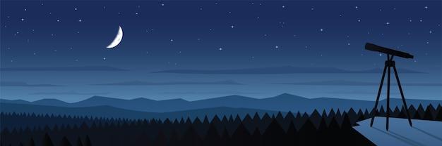 Lunar eclipse observation landscape scene illustration Vettore Premium