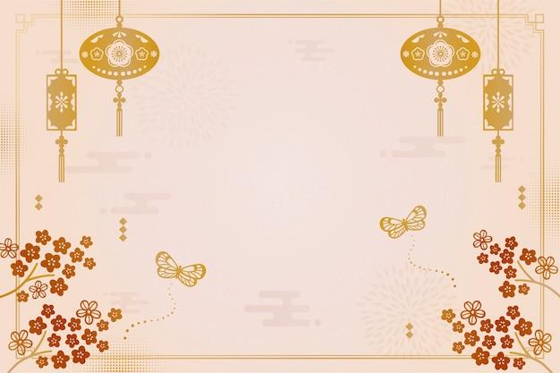 Sfondo decorativo anno lunare con fiori di prugna e lanterne Vettore Premium