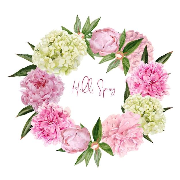 Lussureggianti peonie rosa e fiori di ortensie ghirlanda illustrazione design Vettore Premium