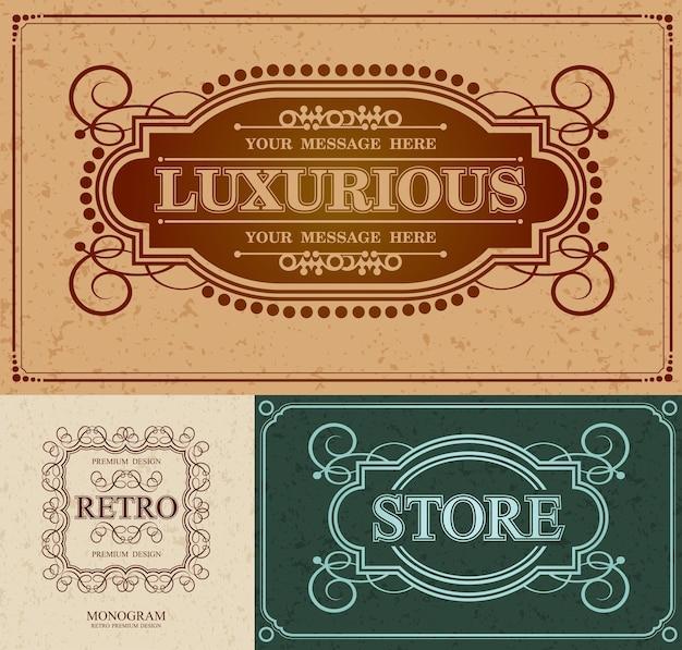 Lussuoso bordo di design alligrafico e marchio retro, elementi di design retro vintage monogram Vettore Premium
