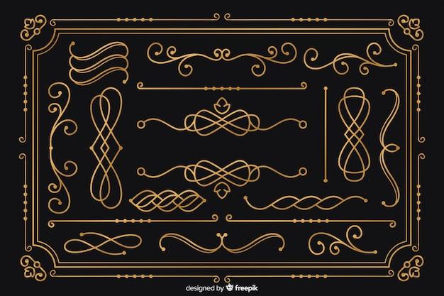 Lussuosa collezione di ornamenti dorati Vettore Premium