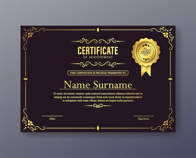 Lussuoso certificato di conseguimento viola con cornice classica Vettore Premium