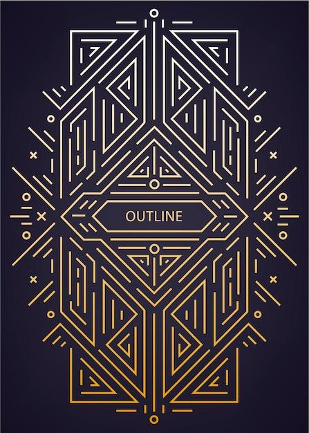 Lusso antico art déco geometrico lineare Vettore Premium