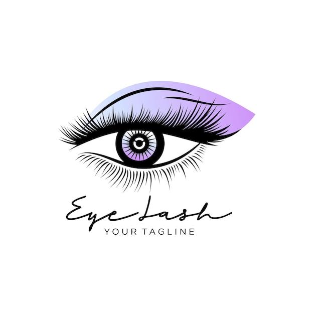 Logo di ciglia di bellezza di lusso Vettore Premium
