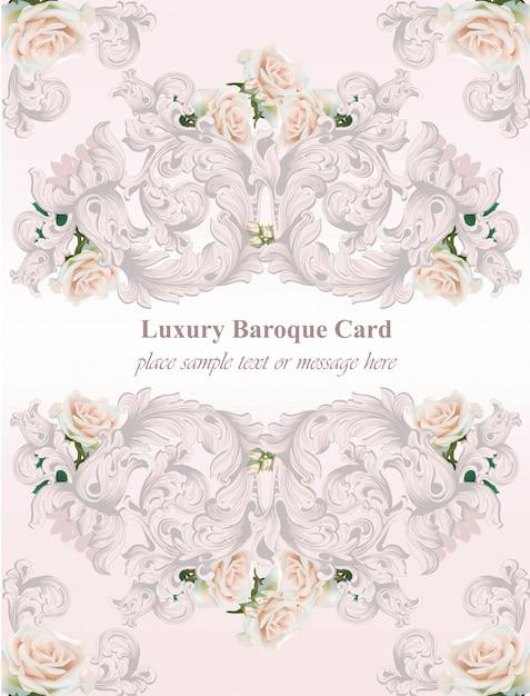 Carta di lusso rose fiori e ornamento sfondo Vettore Premium