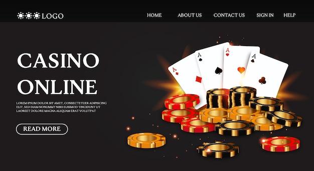 Pagina di destinazione del casinò di lusso con chip di carte da gioco Vettore Premium