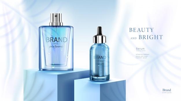 Crema cosmetica di lusso con crema per la cura della pelle, poster di prodotti cosmetici di bellezza, con goccia d'acqua e sfondo di colore blu Vettore Premium