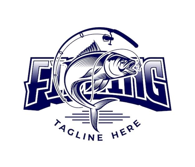 Logo di vettore di illustrazione di pesca di lusso Vettore Premium