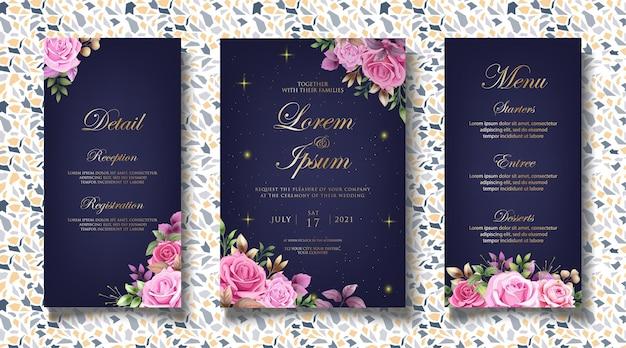 Modello di invito matrimonio floreale di lusso Vettore Premium
