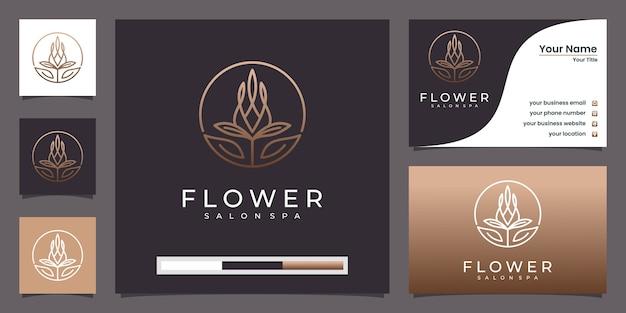 Stile lineare astratto di lusso fiore logo. logo e biglietto da visita di linee di rosa tulipano in loop Vettore Premium