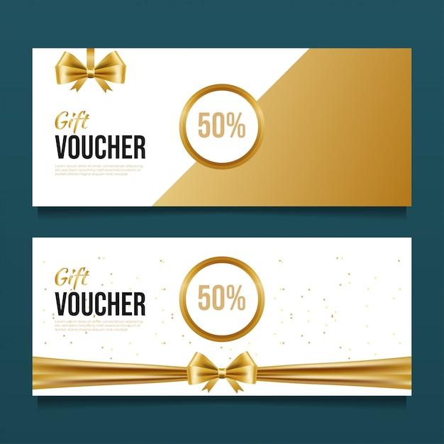 Modello di progettazione del buono regalo di lusso. Vettore Premium