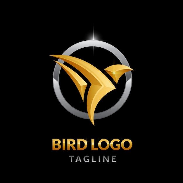 Logo di lusso in oro con uccelli a forma di cerchio d'argento Vettore Premium