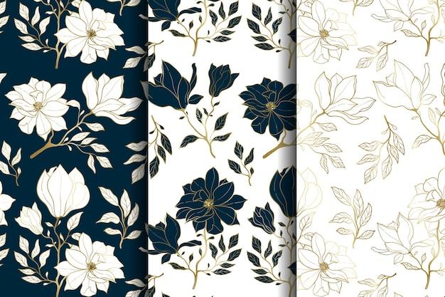 Modello senza cuciture floreale oro e blu di lusso Vettore Premium