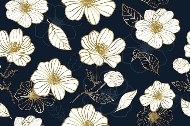 Fiore d'oro di lusso con motivo a sfondo blu senza soluzione di continuità Vettore Premium