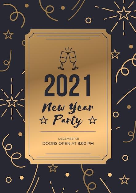 Modello di poster di lusso oro biglietto nuovo anno 2021 Vettore Premium