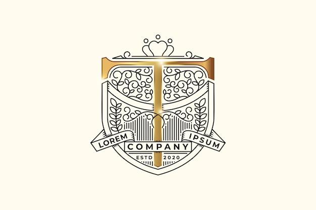 Emblema araldico di lusso con modello di progettazione del logo iniziale della lettera t. Vettore Premium