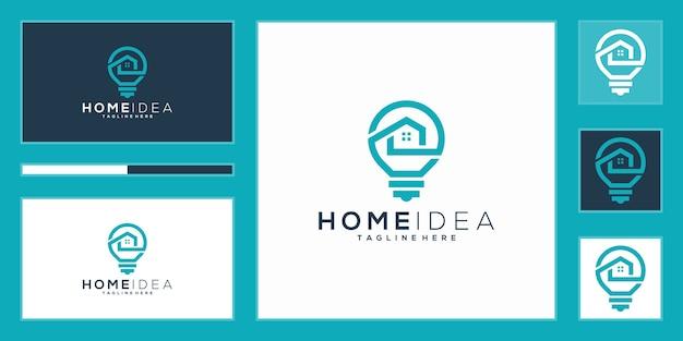 Logo di idea casa di lusso. lampadina e casa con stile art line Vettore Premium