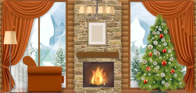 Interno di casa di lusso con camino e vista sulle montagne attraverso la finestra. Vettore Premium
