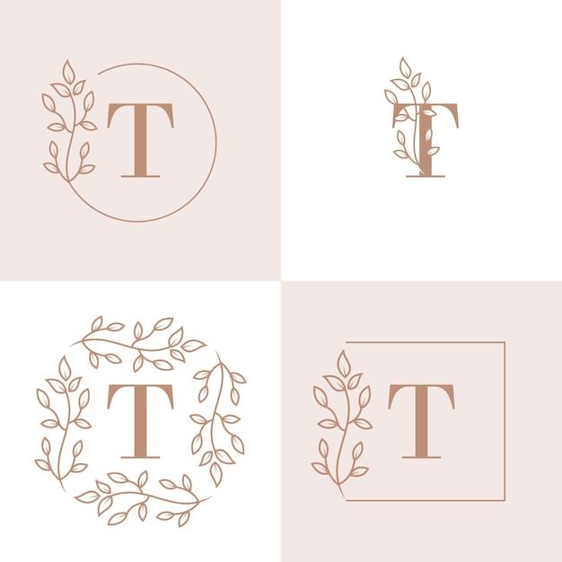 Lettera di lusso t logo design con modello di sfondo cornice floreale Vettore Premium