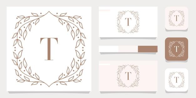 Lettera di lusso t logo design con modello di cornice floreale, design biglietto da visita Vettore Premium