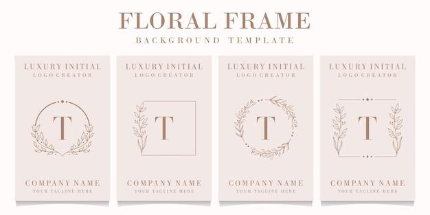 Lettera di lusso t logo design con modello di cornice floreale Vettore Premium