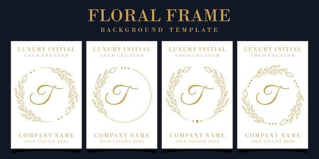 Design di lusso lettera t logo con cornice floreale Vettore Premium