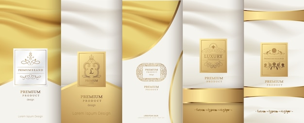 Logo di lusso e design del packaging in oro Vettore Premium