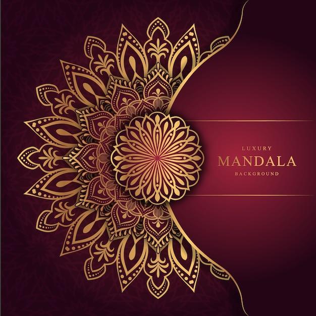 Sfondo mandala di lusso con arabeschi dorati arabi in stile orientale islamico Vettore Premium